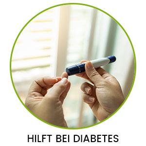 Zwei Hände und ein Blutzucker Pen in einem Kreis und Aufschrift 'Hilft bei Diabetes'