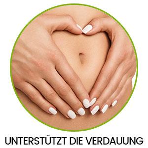 Bauch mit zwei Händen in einem Kreis und Aufschrift 'Unterstützt die Verdauung'