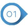 Blau-weißer Kreis mit einer eins darin als Aufzählungszeichen