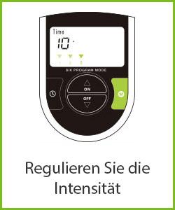 """Zeichnung des kleinen schwarz-grünen Bedienpads des Bauchmuskelgürtel mit """"Regulieren Sie die Intensität"""" Beschriftung"""