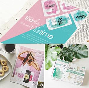 Drei Bildausschnitte mit Lifestyle Magazinen in denen Örtte und WeightWorld Produkte abgebildet sind