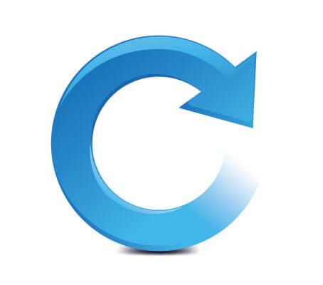 Blauer Pfeil in Kreisform zeigt nach rechts auf weißem Hintergrund