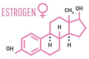 Darstellung der chemischen Formel von Östrogen in rosa auf weißem Hintergrund