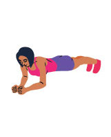 Zeichnung einer Frau in Plank Position in pinkem Top und violetter kurzer Trainingshose