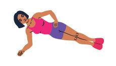 Zeichnung einer Frau in seitlicher Plank Position von vorne in pinkem Top und violetter kurzer Trainingshose
