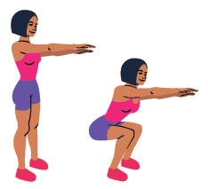 Zeichnung einer Frau die in zwei Positionen eine Kniebeuge vorzeigt in pinkem Top und violetter kurzer Trainingshose