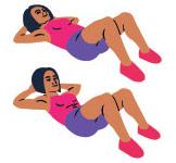 Zeichnung einer Frau die in zwei Positionen einen Situp vorzeigt in pinkem Top und violetter kurzer Trainingshose