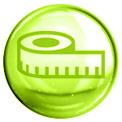 Grüne Blase mit einem grün gezeichneten Maßband in der Mitte