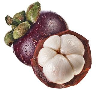 Eine ganze und eine halbe Mangostan Frucht auf weißem Hintergrund