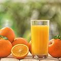 Ein Glas Orangensaft umgeben von ganzen und halben Orangen