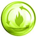 Grüne Blase mit grün gezeichneter Flamme und gezeichneten Pfeilen in der Mitte
