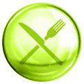 Grüne Blase mit grün gezeichneter Gabel und gezeichnetem Messer gekreuzt in der Mitte