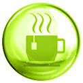 Grüne Blase mit einer grün gezeichneten dampfenden Tasse in der Mitte