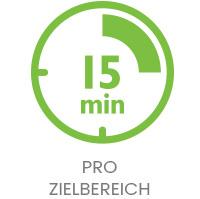 Grafisch dargestellte grüne Uhr mit Aufschrift '15 min' und darunter die Aufschrift 'pro Zielbereich'