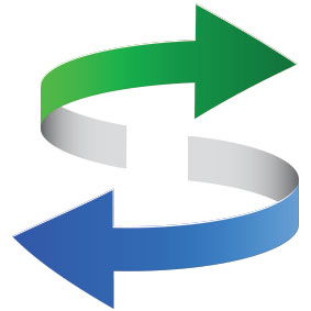 Ein grüner Pfeil sowie ein blauer Pfeil die sich jeweils in 3D drehen auf weißem Hintergrund