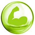 Grüne Blase mit einem grün gezeichneten muskulösen Arm in der Mitte