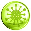 Grüne Blase mit einem grün gezeichneten Zeichen für Virus in der Mitte