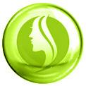 Grüne Blase mit einem grün gezeichneten Profil eines Frauengesichts in der Mitte