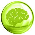 Grüne Blase mit einem grün gezeichneten Gehirn in der Mitte