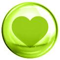 Grüne Blase mit grün gezeichnetem Herz in der Mitte