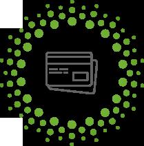 Piktogramm zweier Kreditkarten als Zahlungsmethode in grau mit grünen punkten drum herum.