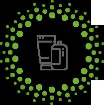Piktogramm eines Bechers und einer Verpackung in grau mit grünen punkten drum herum