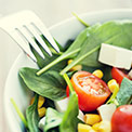 Salat mit Gabel