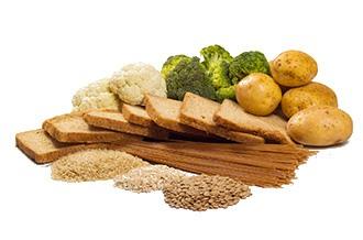 Getreide, Spaghetti, Brot, Kartoffeln, Blumenkohl und Brokkoli