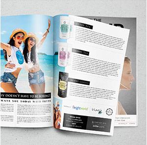 Lifestyle Magazin in dem verschiedene Örtte Produkte abgebildet sind