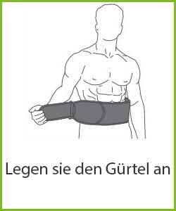 """Schemenhafte Zeichnung eines muskulösen Mannes mit Bauchmuskelgürtel schwarz-weiß mit """"Legen Sie den Gürtel an"""" Beschriftung"""