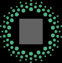 Piktogramm einer Hand, die ein Herz mit einem Prozentzeichen hält in grau mit grünen punkten drum herum