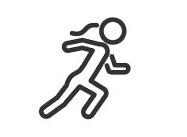 Piktogramm von jemanden der gerade schnell läuft auf weißem Hintergrund