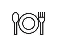 Piktogramm von einm Teller mit links und rechts Gabel und Löffel