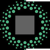 Piktogramm zweier inaneinder greifender Zahnräder in grau mit grünen punkten drum herum