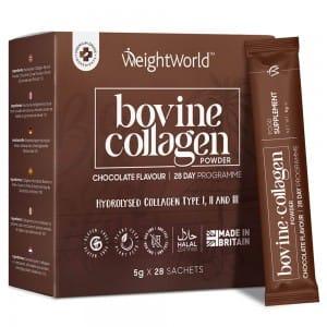 Rinderkollagenpulver Anti-Aging Ergänzung mit Schokoladengeschmack 4000 mg Kollagen pro Portion 28 x 5g Pulver