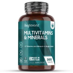 Multivitamine und Mineralien 365 Tabletten | Natürliche Ergänzung für das Wohlbefinden