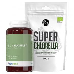 Bio Chlorella 375 Tabletten 4000mg Flasche und Super Chlorella 200g Pulver