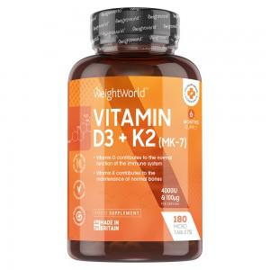 Vitamin D3 + K2 Tabletten | Nahrungsergänzungsmittel zur Erhaltung der Knochen und der normalen Funktion des Immunsystems