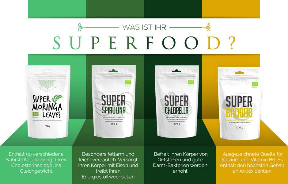 Verschiedene Superfood Arten