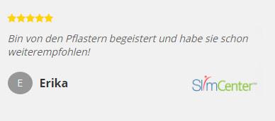 SlimCenter fünf Sterne Kundenbewertung zu Abnehmpflastern von Erika